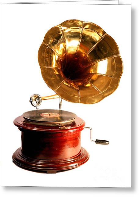 Analogue Greeting Cards - Isolated antique gramophone Greeting Card by Paul Cowan
