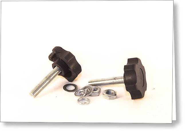 Industrial Background Greeting Cards - Isolated bolts and nuts Greeting Card by Daniel Ronneberg