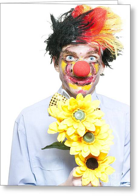 Lovesick Greeting Cards - Isolated Clown In A Funny Summer Romance Greeting Card by Ryan Jorgensen