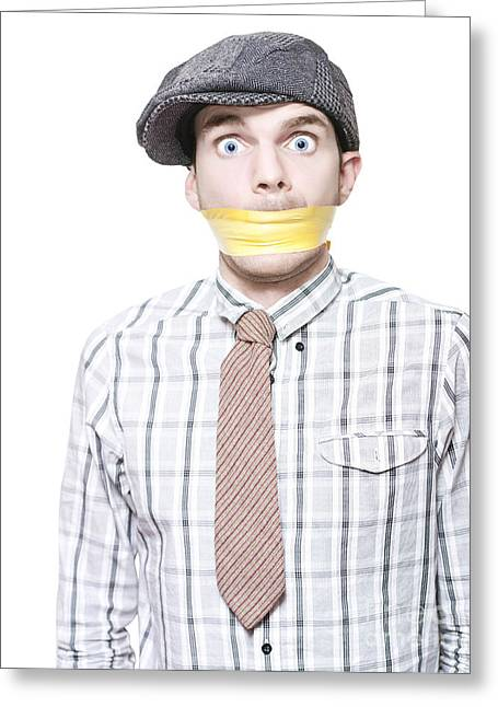 Expresion Greeting Cards - Isolated Crime Scene Witness Taped And Gagged Greeting Card by Ryan Jorgensen