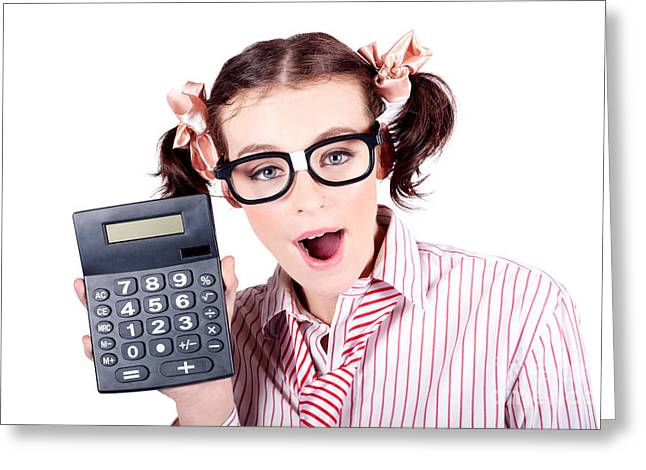 Isolated Finance Business Woman Holding Calculator Greeting Card by Jorgo Photography - Wall Art Gallery