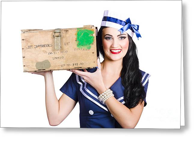Feminity Greeting Cards - Isolated pin up girl holding a military arms box Greeting Card by Ryan Jorgensen