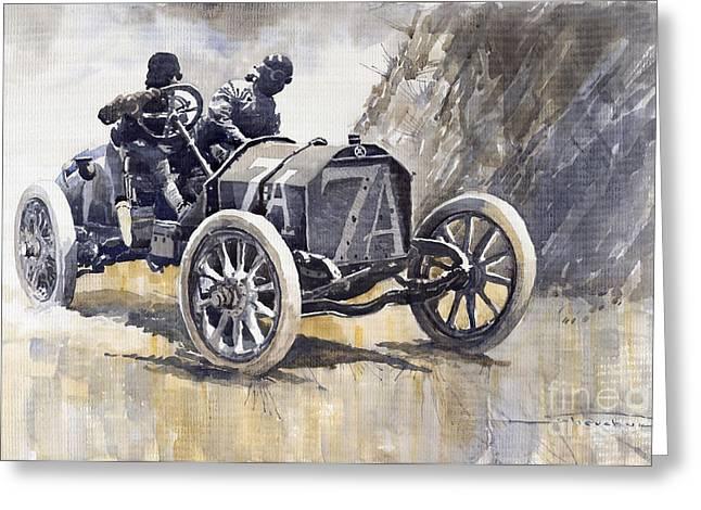 Watercolour Paintings Greeting Cards - Isotta Fraschini 50HP 1908 Targa Florio  Greeting Card by Yuriy  Shevchuk