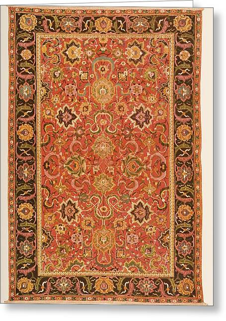 Bright Drawings Greeting Cards - Ispahan Rug From The 16th Century Greeting Card by Ken Welsh