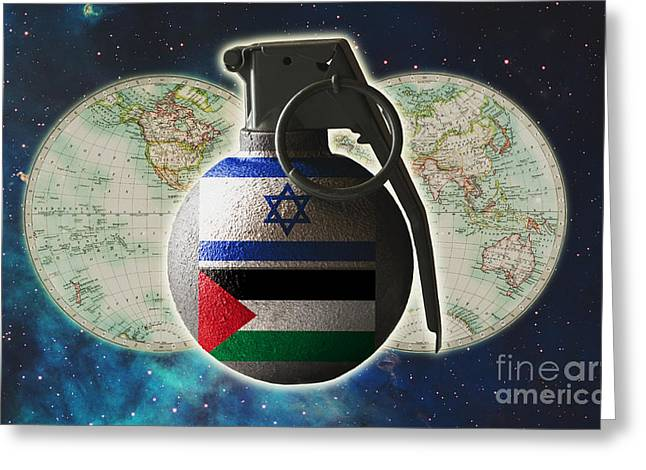 Clash Of Worlds Greeting Cards - Israel And Palestine Conflict Greeting Card by George Mattei