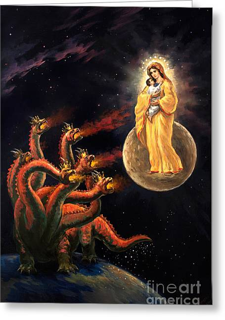 The Leaver Greeting Cards - Israel - Jesus v The Dragon Satan Original Oil on Canvas Painting Revelation 12 signed Greeting Card by Vigovsky