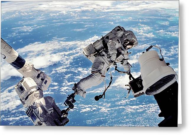 Wolf Man Greeting Cards - Iss Space Walk Greeting Card by Nasa