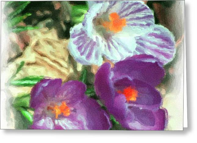 Ist flowers in the garden 2010 Greeting Card by David Lane