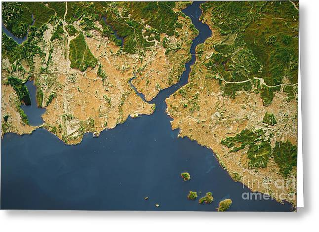 Istanbul City Topographic Map Natural Color Greeting Card by Frank Ramspott