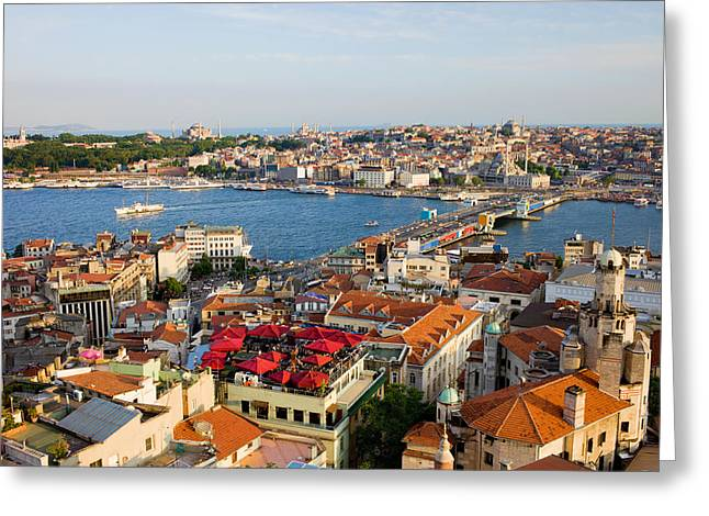 Old Home Place Greeting Cards - Istanbul Cityscape Greeting Card by Artur Bogacki
