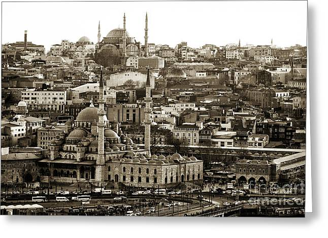 Istanbul Greeting Cards - Istanbul Cityscape VIX Greeting Card by John Rizzuto