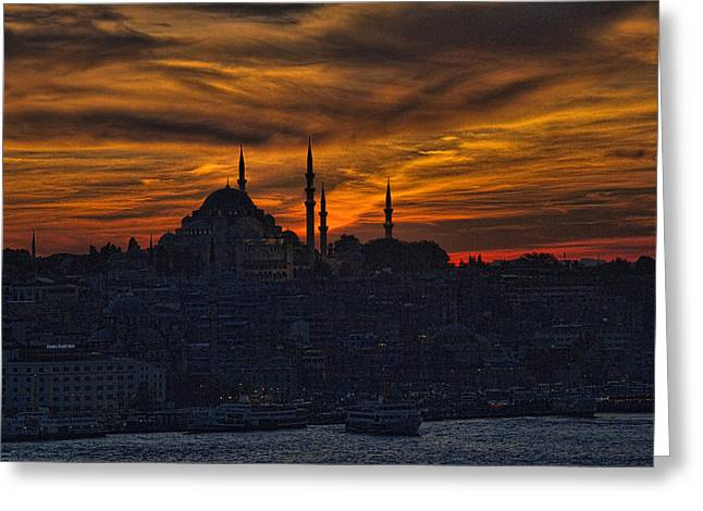 Cruising Photographs Greeting Cards - Istanbul Sunset - A Call to Prayer Greeting Card by David Smith