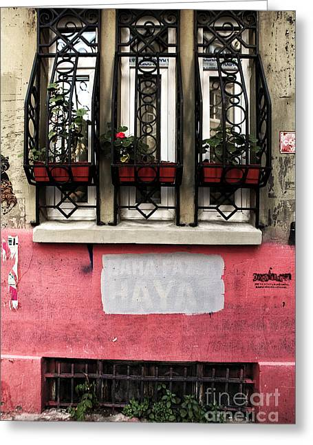 Istanbul Greeting Cards - Istanbul Window Design Greeting Card by John Rizzuto