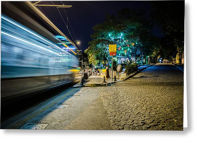 Exposure Greeting Cards - Istanbuls Tram at Night Greeting Card by Anthony Doudt
