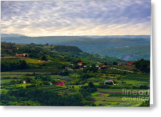 Hill Top Village Greeting Cards - Istria Greeting Card by Svetlana Sewell