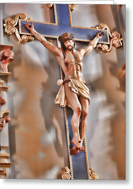 Crucifix Greeting Cards - It Is Finished - Mission San Jose Greeting Card by Stephen Stookey