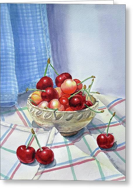 Ceramics Greeting Cards - It Is Raining Cherries Greeting Card by Irina Sztukowski