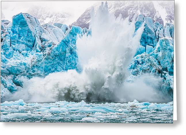 It Makes A Big Splash - Glacier Calving Photograph Greeting Card by Duane Miller