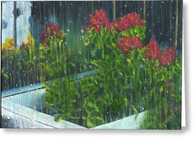 Catherine Howard Greeting Cards - It Must Be Raindrops  Greeting Card by Catherine Howard