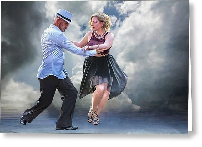 It Takes Two To Tango Greeting Card by John Haldane