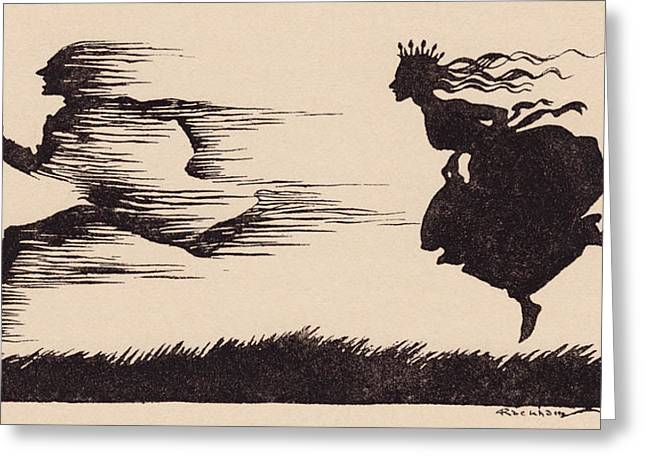 Running Princess Greeting Cards - It Was Just As If The Wind Had Whistled Greeting Card by Vintage Design Pics