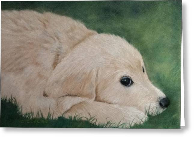 Puppies Pastels Greeting Cards - It Wasnt Me Greeting Card by Carol Corliss