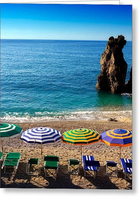 Italian Beach Scene Greeting Card by John Wong