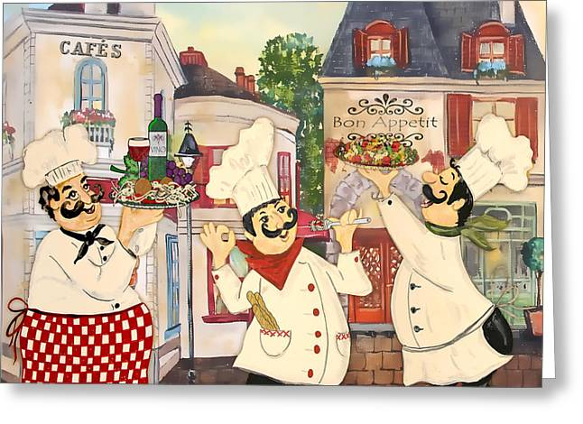 Red Wine Prints Greeting Cards - Italian Chefs-JP3042 Greeting Card by Jean Plout