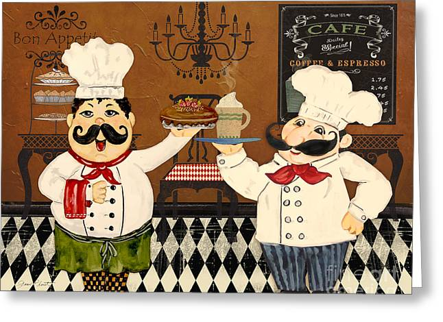 Red Wine Prints Greeting Cards - Italian Chefs-JP3047 Greeting Card by Jean Plout