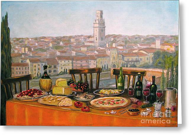 Chianti Greeting Cards - Italian cityscape-Verona Feast Greeting Card by Italian Art