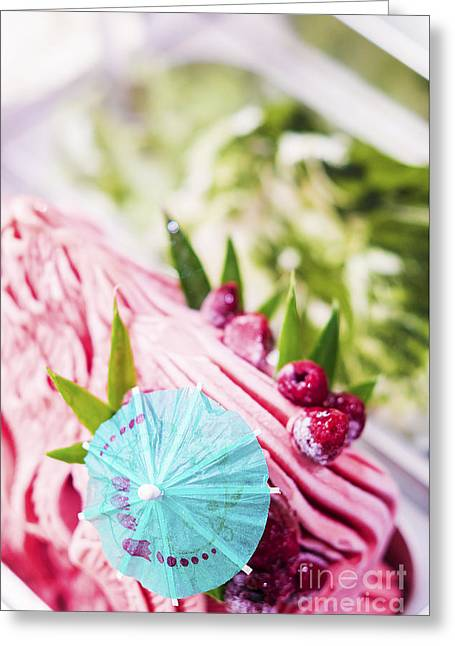 Italian Med Greeting Cards - Italian Gelato Raspberry Ice Cream With Blue Umbrella Greeting Card by Jacek Malipan