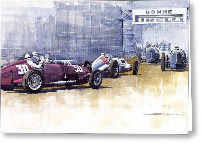 Watercolour Paintings Greeting Cards - Italian GP1937 Livorno  Greeting Card by Yuriy  Shevchuk