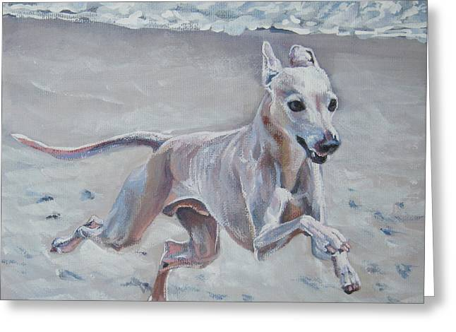 Greyhound Dog Greeting Cards - Italian Greyhound on the Beach Greeting Card by Lee Ann Shepard