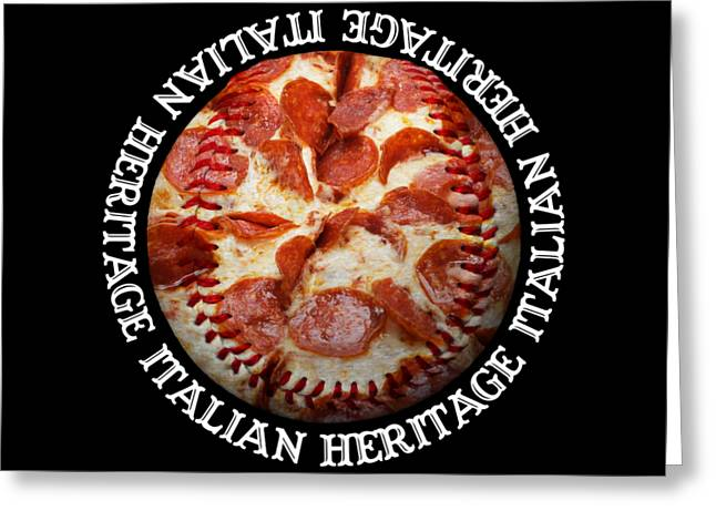 Baseball Art Greeting Cards - Italian Heritage Baseball Pizza Square Greeting Card by Andee Design