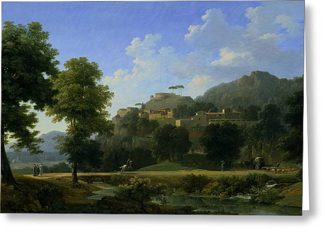 Italian Landscape Greeting Cards - Italian Landscape Greeting Card by Jean-Victor Bertin