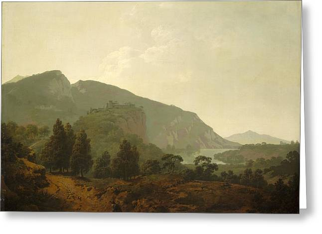 Outlook Paintings Greeting Cards - Italian Landscape Greeting Card by Joseph Wright
