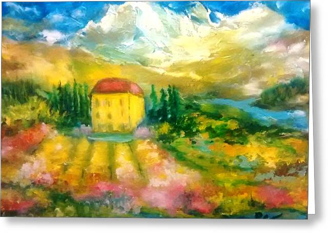 Italian Mountain Villa In Summer Greeting Card by Patricia Taylor