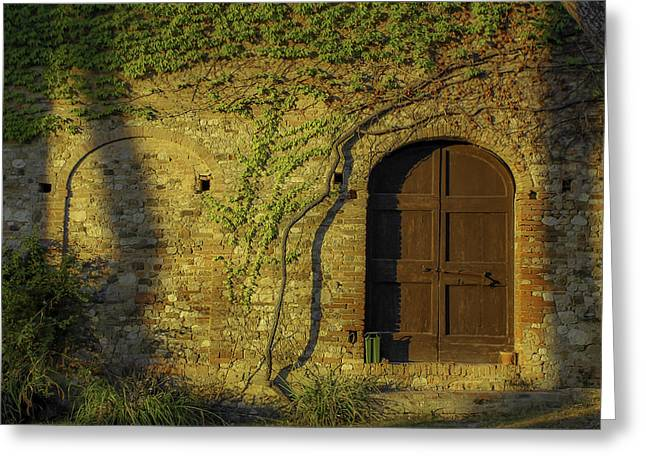 Outbuildings Greeting Cards - Sienna Sunlight Greeting Card by Joseph Yvon Cote
