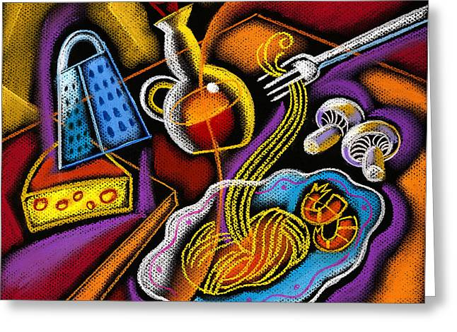 Painted Recipes Greeting Cards - Italian Pasta Greeting Card by Leon Zernitsky