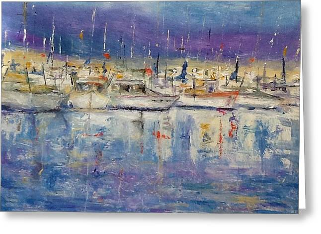 Boats In Harbor Greeting Cards - Italian port Greeting Card by Bobbie Frederickson
