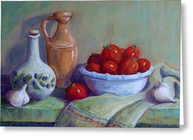 Olive Oil Pastels Greeting Cards - Italian Still Life Greeting Card by Candy Mayer