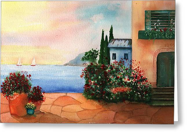 Buildings By The Ocean Greeting Cards - Italian Sunset Villa by the Sea Greeting Card by Sharon Mick