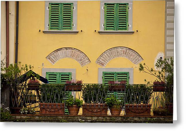 Italian Terrace Greeting Card by Rae Tucker