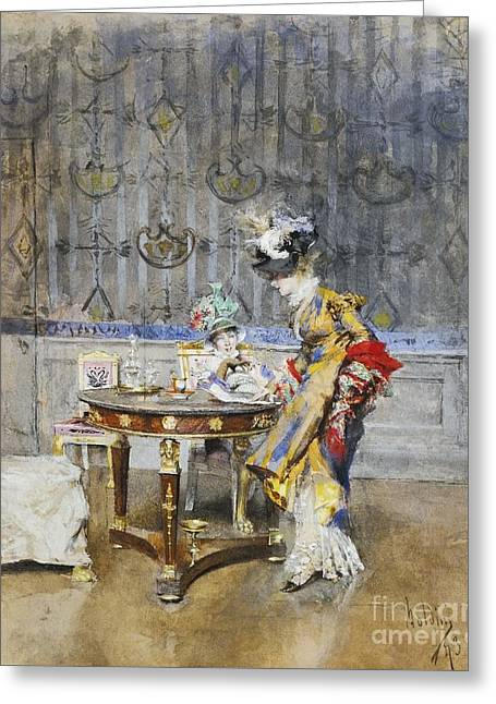 Italian The Letter Greeting Card by Giovanni Boldini