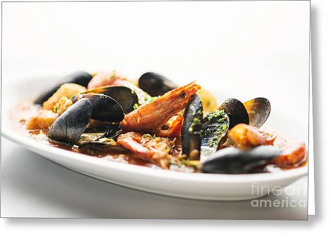 Italian Med Greeting Cards - Italian Traditional Seafood Stew  Greeting Card by Jacek Malipan