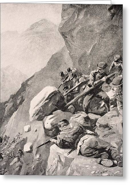 Wwi Greeting Cards - Italian Troops Levering Boulders Down Greeting Card by Ken Welsh
