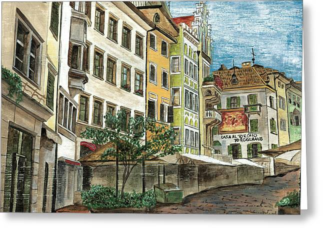 Cobblestone Greeting Cards - Italian Village 1 Greeting Card by Debbie DeWitt
