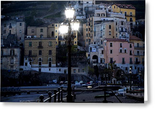 Night Lamp Greeting Cards - Italian village in the evening Greeting Card by Joana Kruse