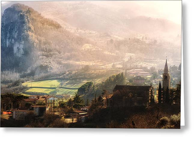 Nature Scene Pyrography Greeting Cards - Italian village in the hills at sunset Greeting Card by Riccardo Zimmitti