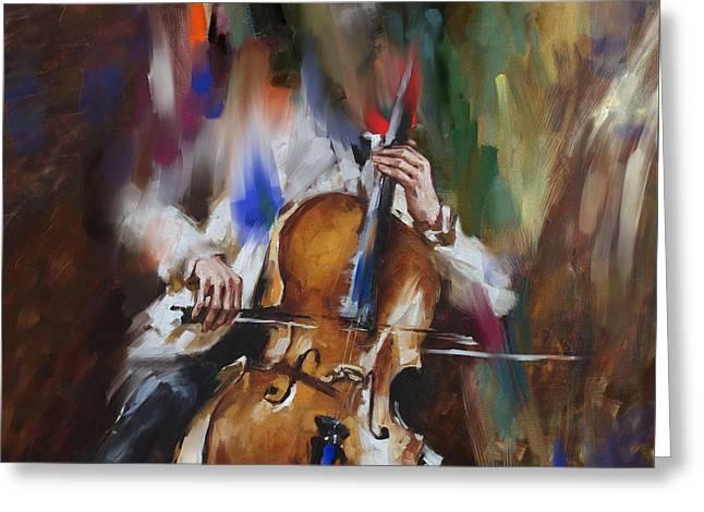 Italian Violin Player 173 1  Greeting Card by Mawra Tahreem